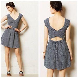 ANTHRO Postmark 0 Matilde Blue Cut Out Back Dress